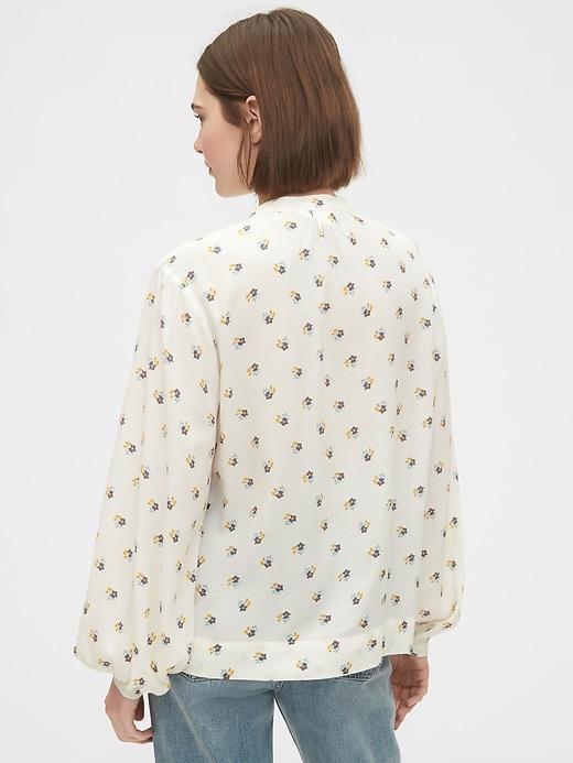 Print Shirred Popover Shirt