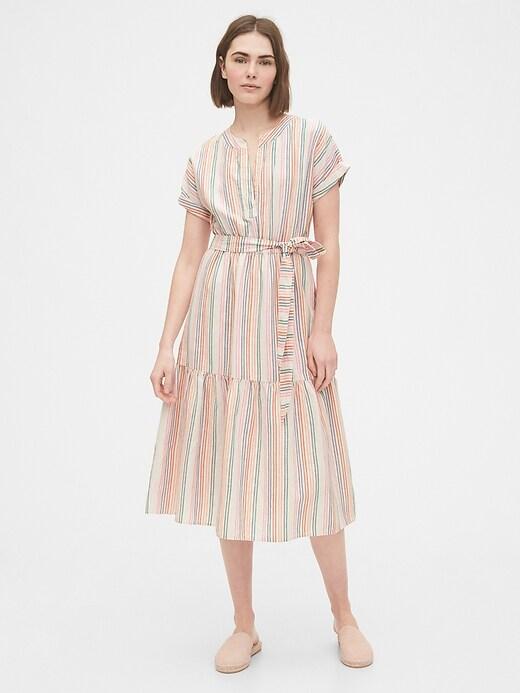 Linen-Cotton Ruffle Midi Dress