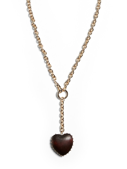 Wood Heart Y-Necklace