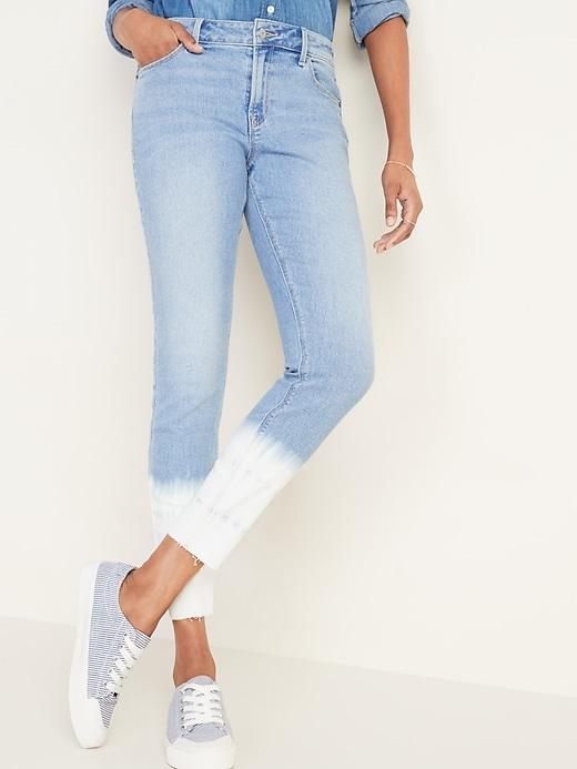 Mid-Rise Dip-Dye Rockstar Super Skinny Jeans for Women