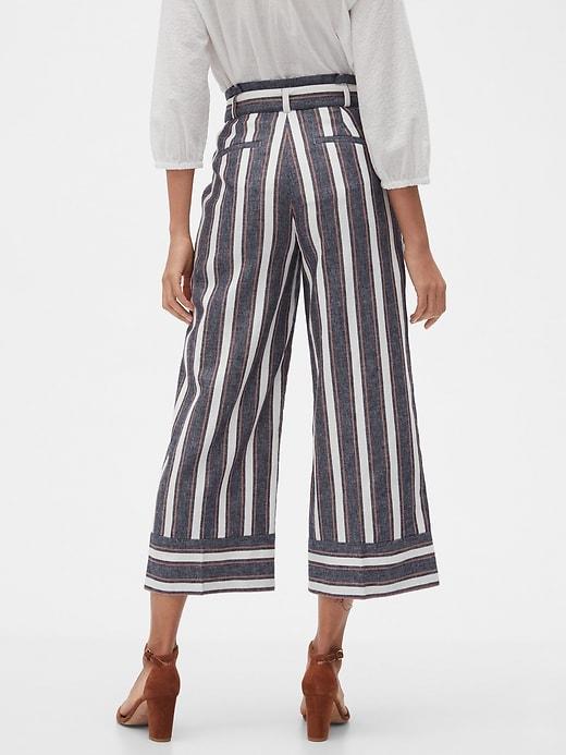 Blake Paperbag-Waist Striped Linen Crop Pant