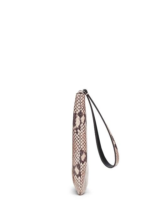 Snake Print Leather Wristlet Clutch