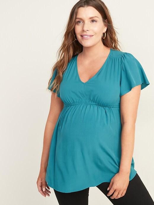 Maternity V-Neck Tie-Waist Blouse