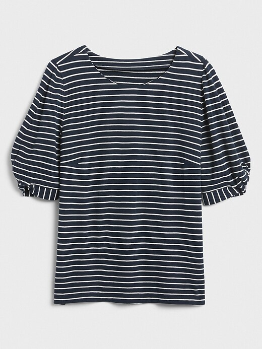 Striped Twist-Sleeve Top