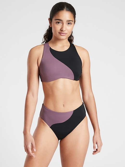 Asym Colorblock High Neck Bikini