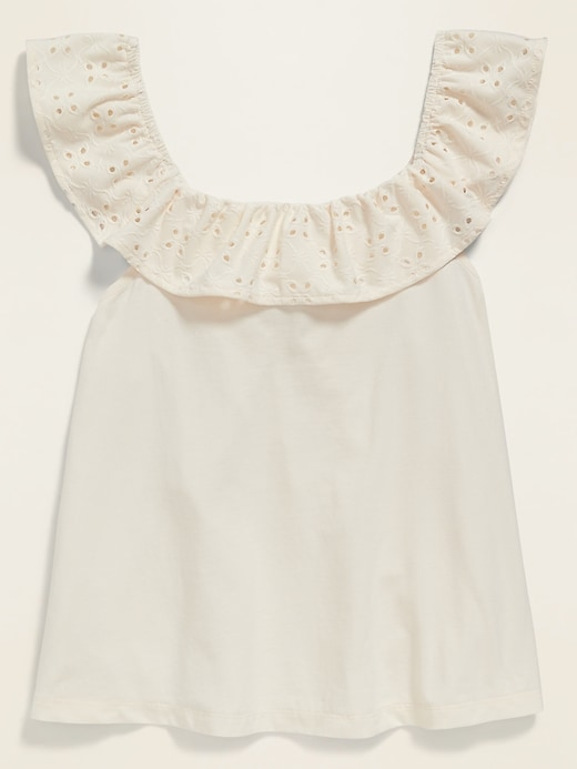 Ruffled Eyelet-Lace Jersey-Knit Top for Girls