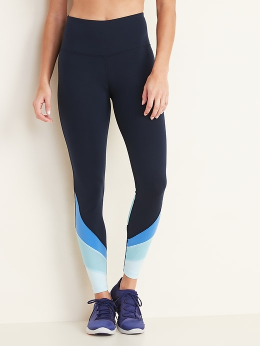 High-Waisted Color-Blocked Mesh Elevate 7/8-Length Leggings for Women