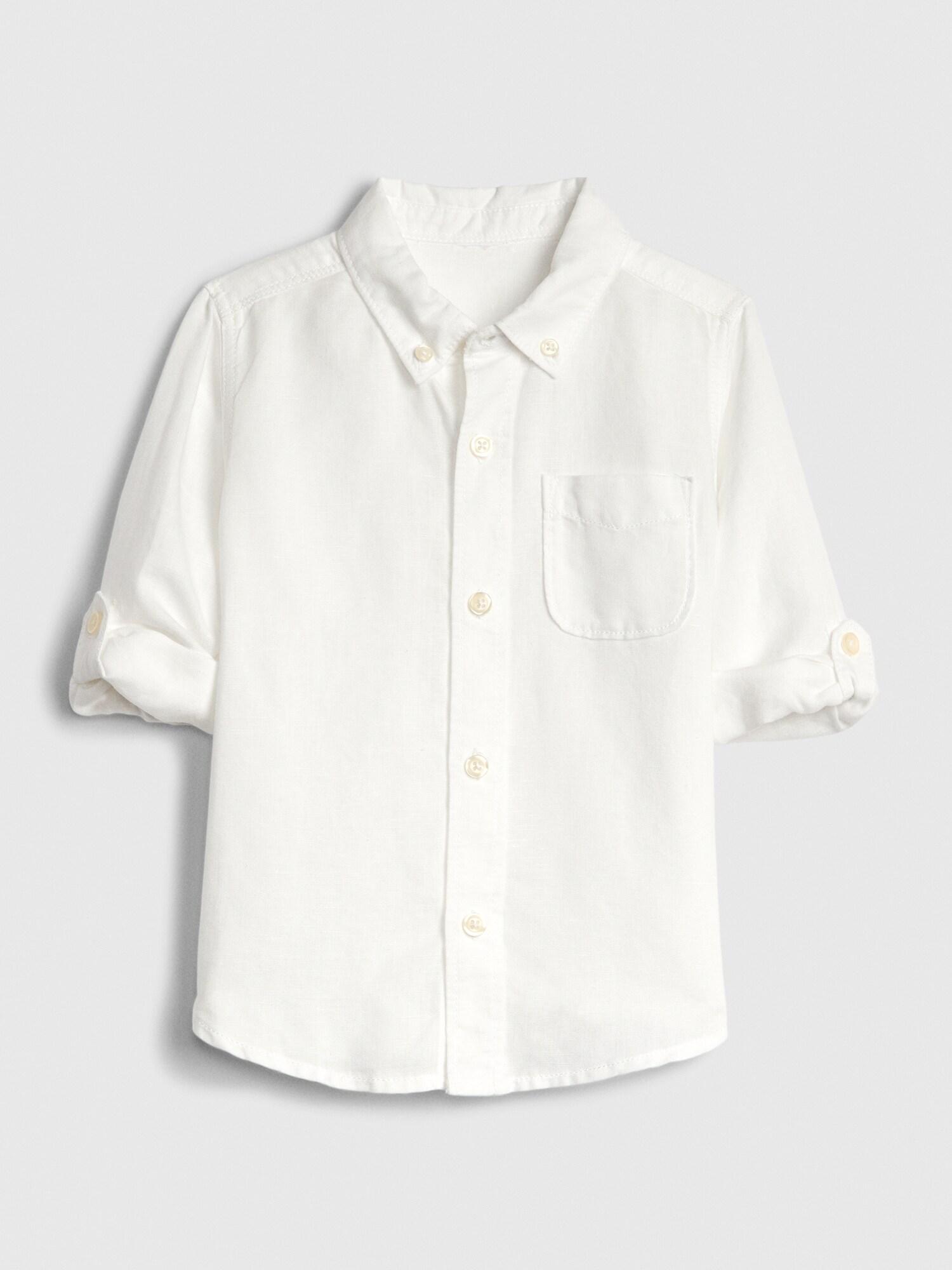 長袖リネンコットンシャツ (幼児)