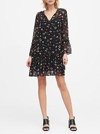 Floral Clip-Dot Drop-Waist Dress