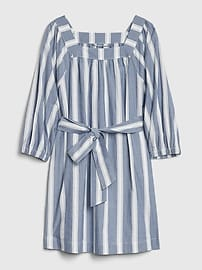 Squareneck Tie-Belt Dress