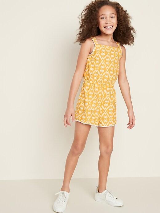 Printed Pom-Pom Trim Sleeveless Romper for Girls