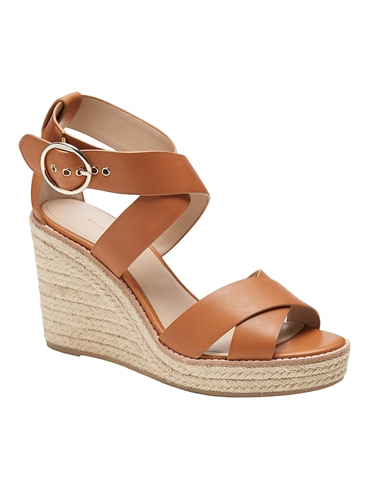 Leather  Espadrille Wedge Sandal
