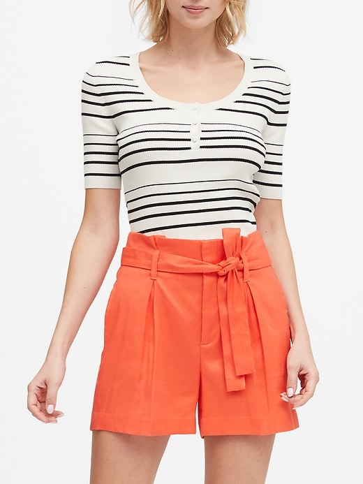 Stretch-Cotton Henley Sweater Top