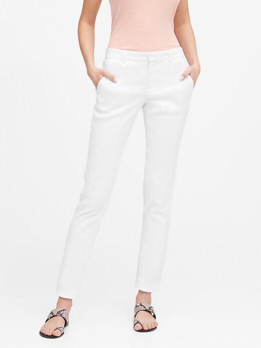 Petite Avery Straight-Fit Linen-Cotton Pant