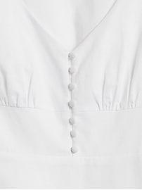 Robe mi-longue boutonnée à l'avant en mélange de lin et coton