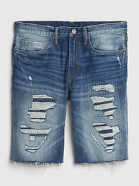 "12"" Destructed Denim Shorts with Raw Hem"