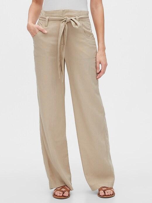 Tie-Belt Pants in Linen