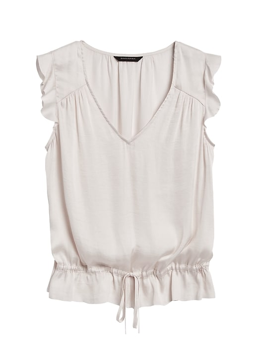 Petite Soft Satin Ruffle Top