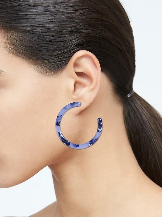 Blue Resin Hoop Earrings