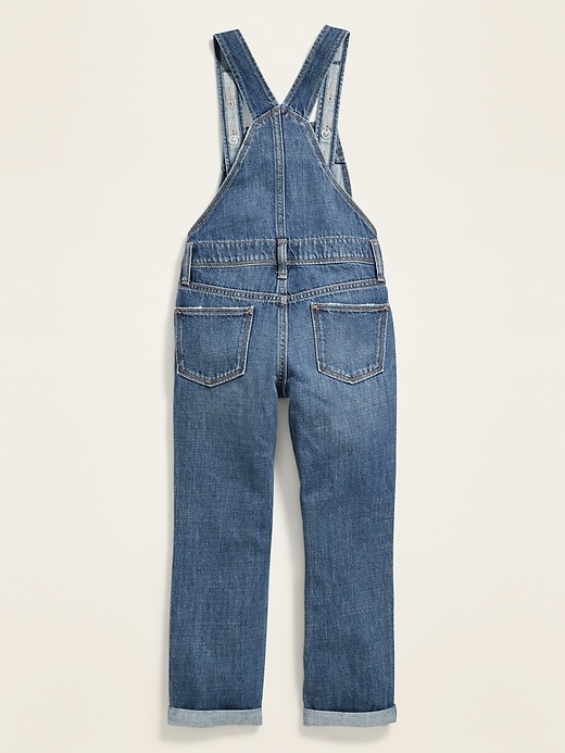 Distressed Roll-Cuff Jean Overalls for Girls