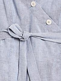 Petite Linen-Cotton Button-Front Mini Dress