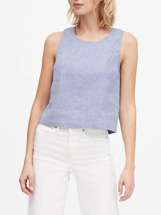 Petite Linen-Cotton Cropped Shell