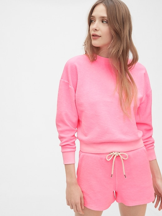Cropped Pullover Sweatshirt in French Terry