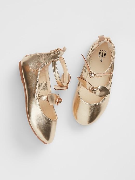 babyGap Metallic Bow Strap Ballet Flats