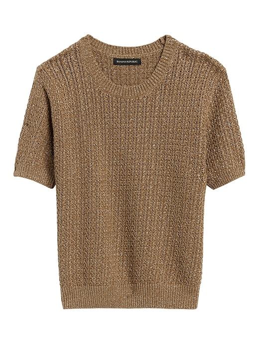 Metallic Pointelle Cropped Sweater