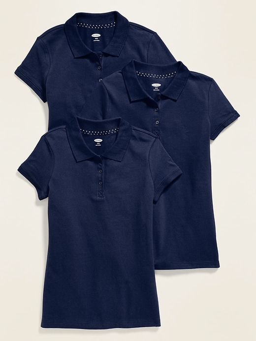 Uniform Short-Sleeve Pique Polo 3-Pack for Girls