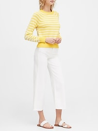 Petite Stripe Cotton-Blend Cropped Sweater