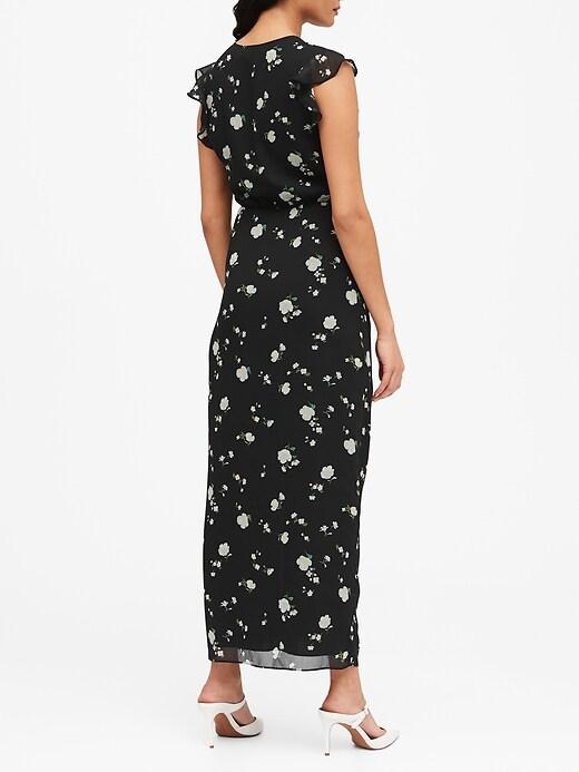 Petite Print Ruched Maxi Dress