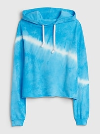 Crop Pullover Hoodie with Raw Hem in French Terry