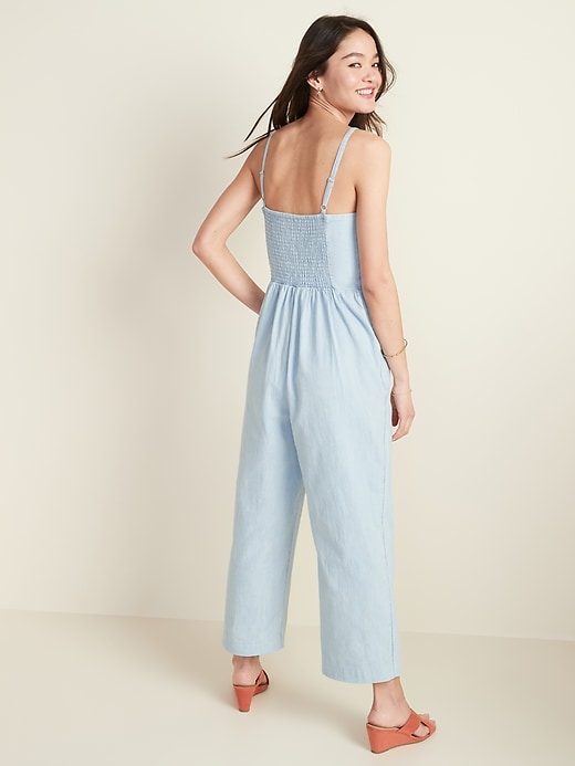 Button-Front Chambray Cami Jumpsuit for Women