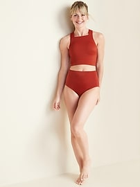 High-Waisted Textured-Rib Swim Bottoms for Women