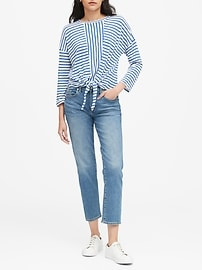 Petite Cropped Tie-Front T-Shirt