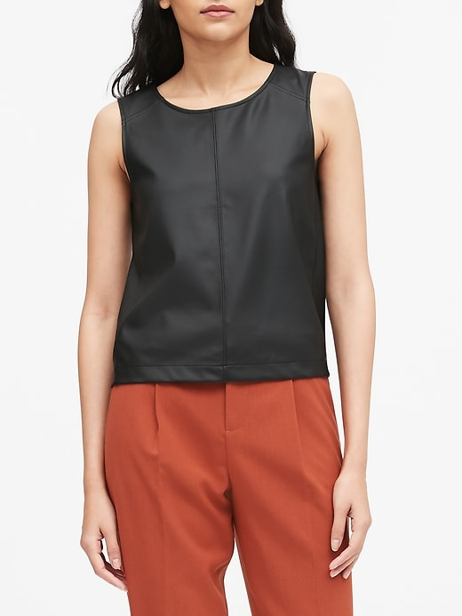 Vegan Leather Cropped Shell