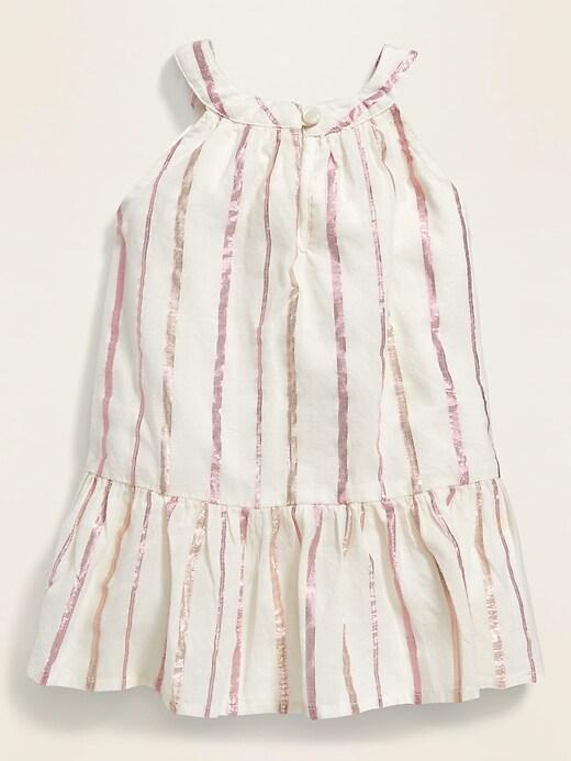 Metallic-Stripe Swing Dress for Baby