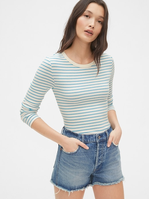 Modern Stripe Long Sleeve Crewneck T-Shirt