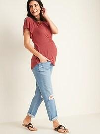 Maternity Linen-Blend Flutter-Sleeve Top