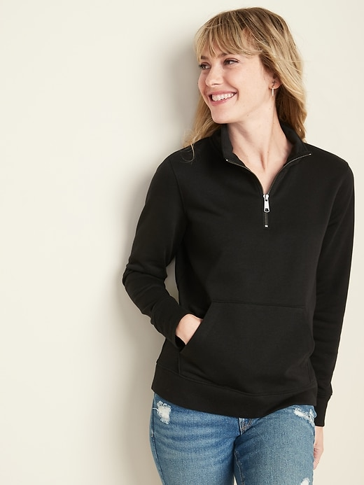 Relaxed 1/4-Zip Mock-Neck Pullover for Women