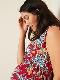 Maternity Waist-Defined Floral-Print Dress