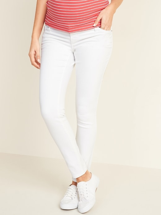 Maternity Premium Full-Panel Rockstar Super Skinny White Jeans
