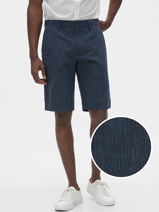 Banana Republic Factory 11-in Emerson Straight-Fit Stretch Shorts (Navy Stripe)