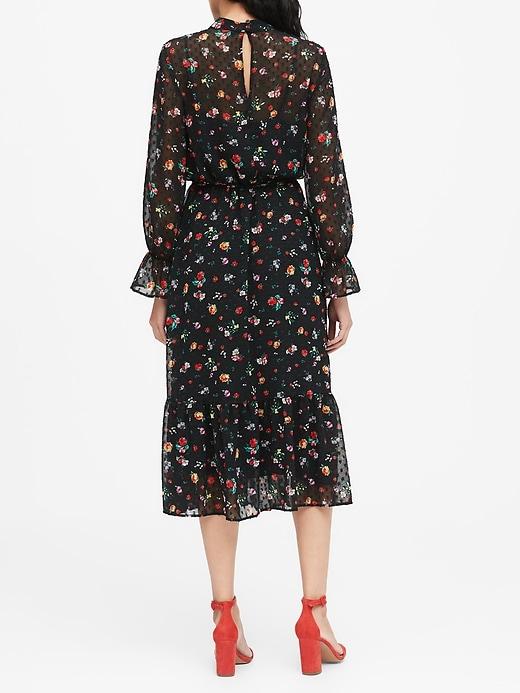 Sheer Clip-Dot Midi Dress