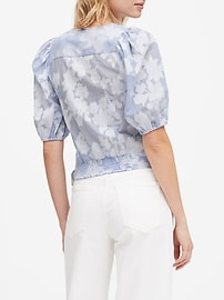 Floral Puff-Sleeve Cropped Top
