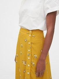 Floral Side-Button Midi Skirt
