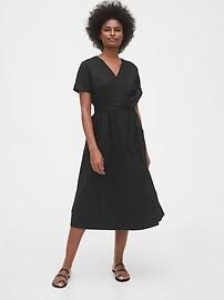 Short Sleeve Wrap-Front Dress in Linen-Cotton