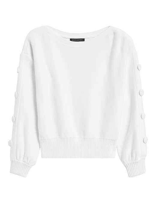 Button-Sleeve Cropped Sweater