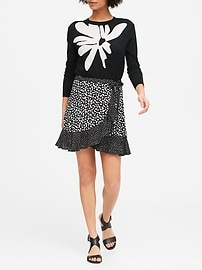 Petite Ruffle Wrap Mini Skirt